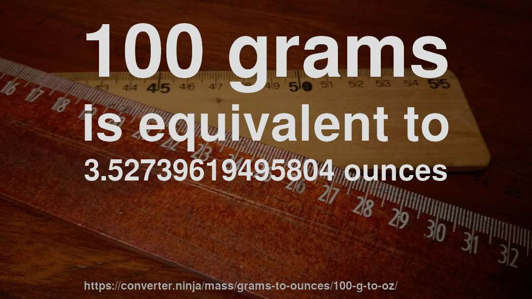 100 Grams Is Equivalent To 3 52739619495804 Ounces