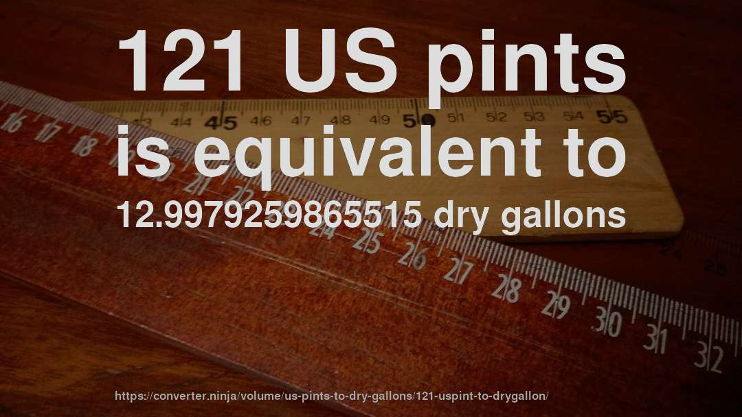 121 US pints is equivalent to 12.9979259865515 dry gallons