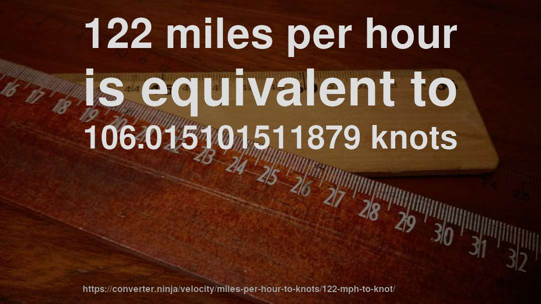 122 Miles Per Hour Is Equivalent To 106 015101511879 Knots