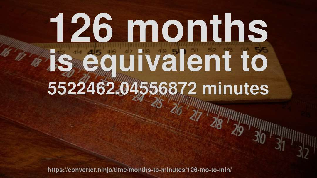 126 months is equivalent to 5522462.04556872 minutes