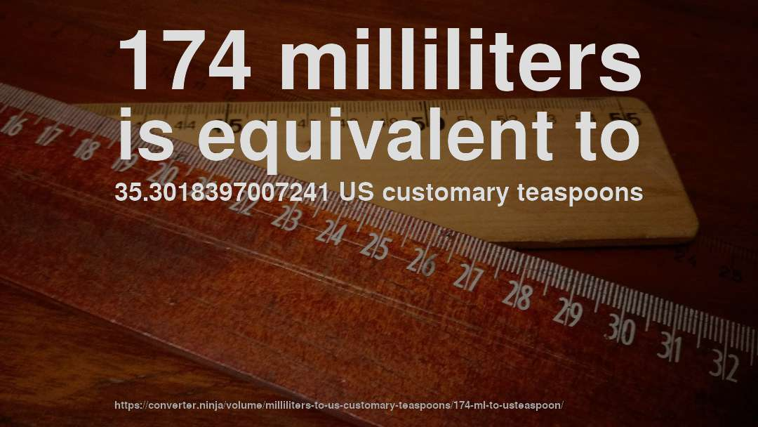 174 milliliters is equivalent to 35.3018397007241 US customary teaspoons