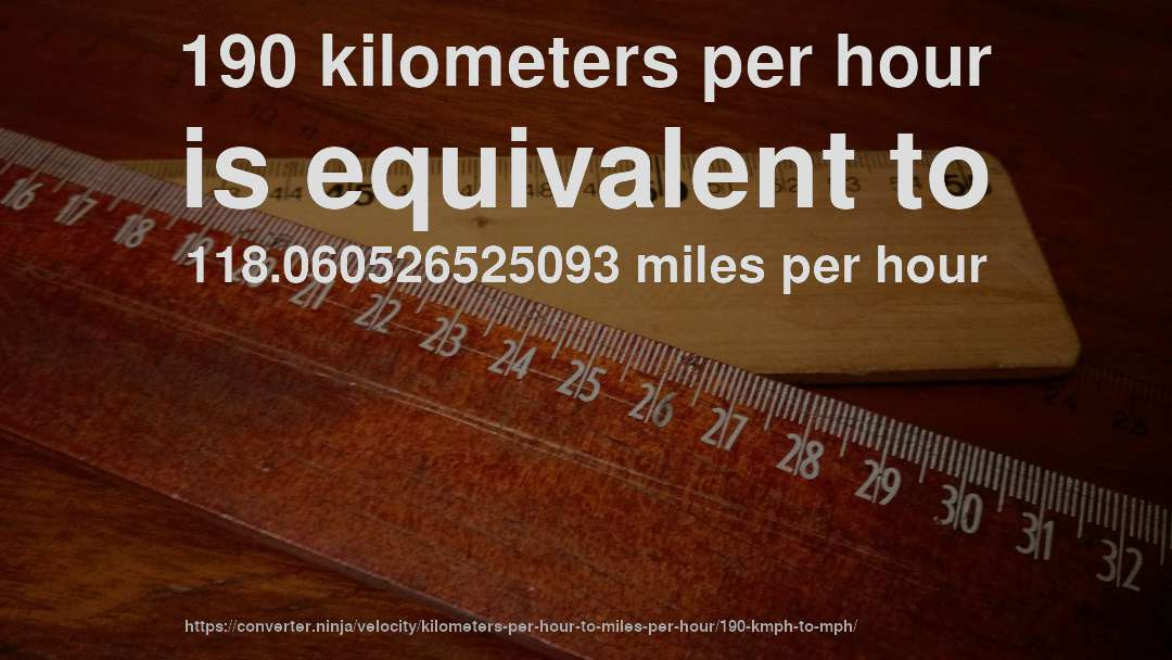 190 km hr to mph how fast is 190 kilometers per hour in miles per hour convert units converter ninja
