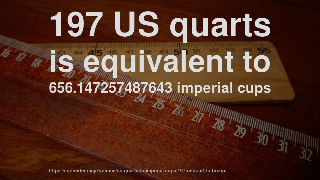 197 US quarts is equivalent to 656.147257487643 imperial cups