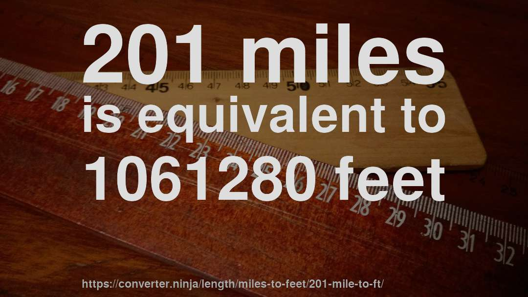 201 miles is equivalent to 1061280 feet