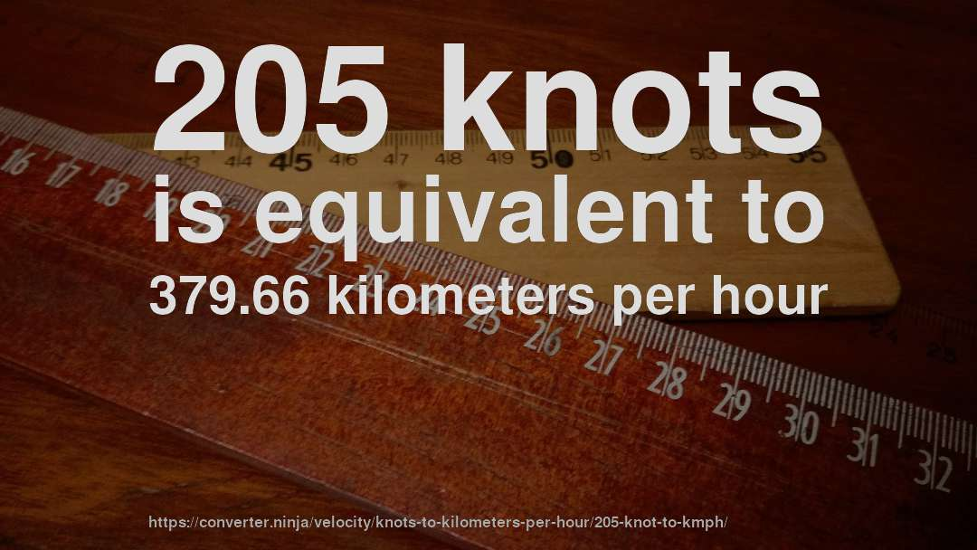 205 knots is equivalent to 379.66 kilometers per hour