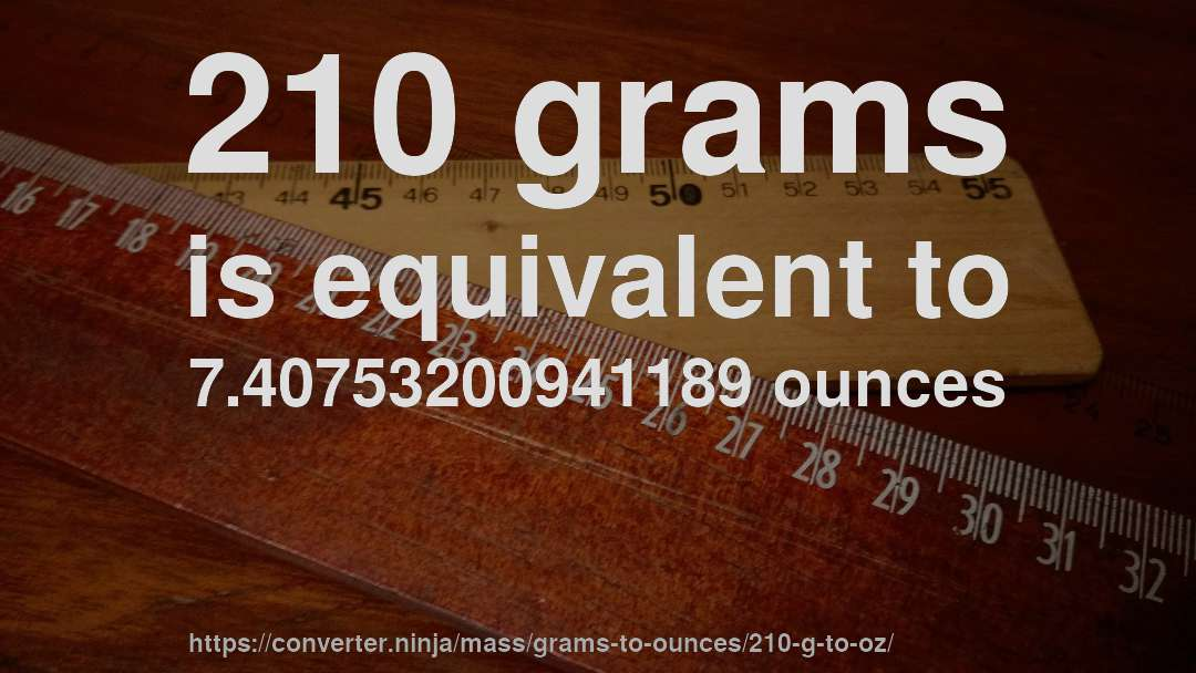 210 grams is equivalent to 7.40753200941189 ounces