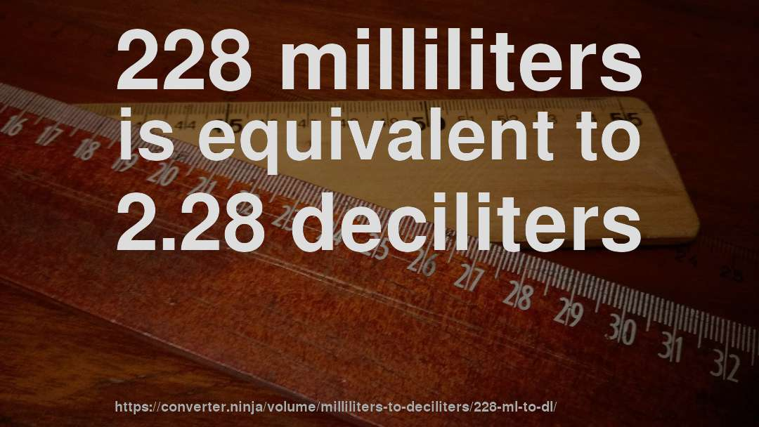 228 milliliters is equivalent to 2.28 deciliters