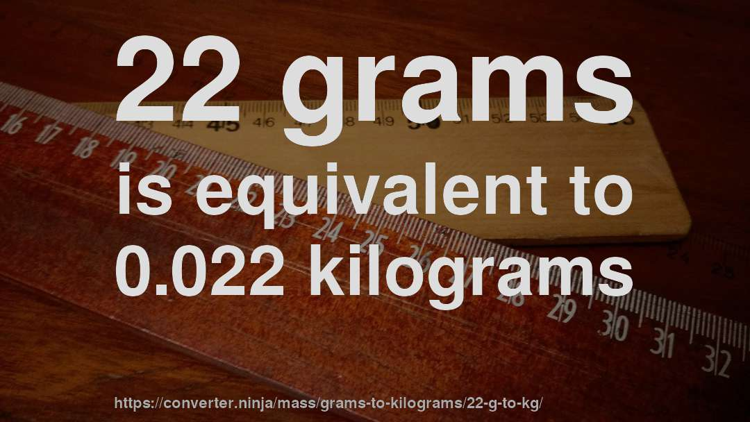 22 grams is equivalent to 0.022 kilograms