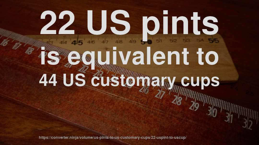 22 US pints is equivalent to 44 US customary cups