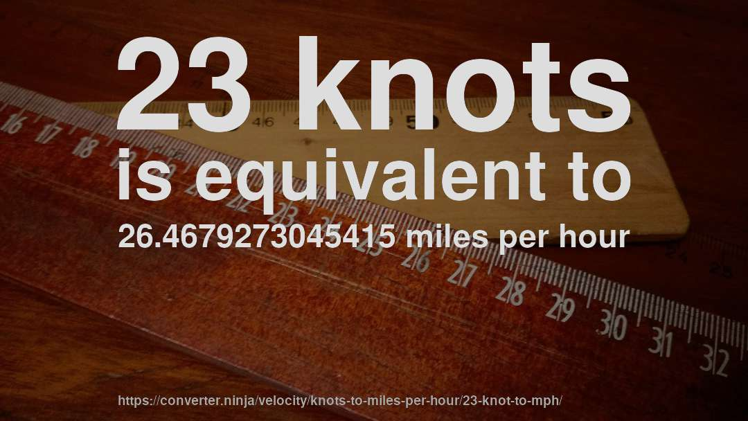 23 knot to mph - How fast is 23 knots in miles per hour? [CONVERT] ✓