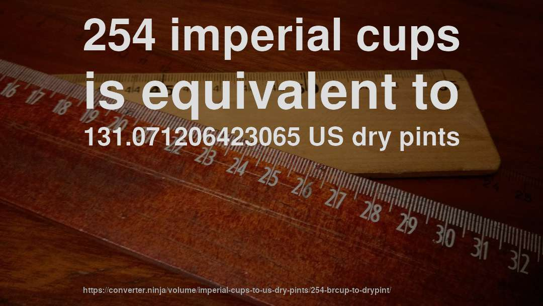 254 imperial cups is equivalent to 131.071206423065 US dry pints