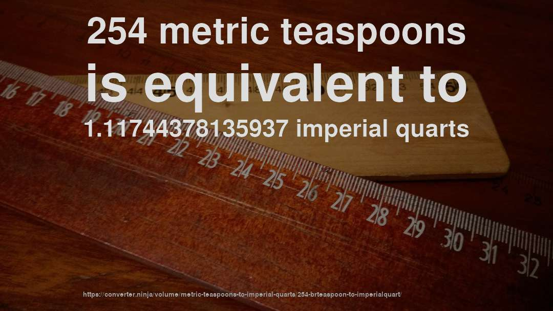 254 metric teaspoons is equivalent to 1.11744378135937 imperial quarts