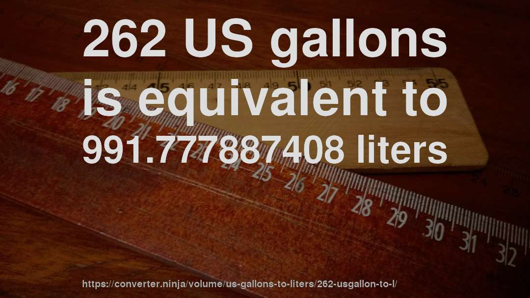 262 US gallons is equivalent to 991.777887408 liters