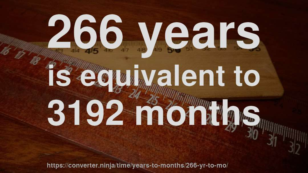 266 years is equivalent to 3192 months