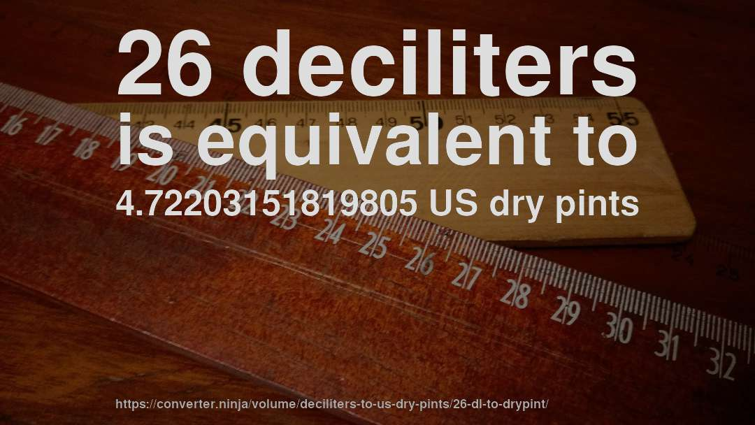26 deciliters is equivalent to 4.72203151819805 US dry pints