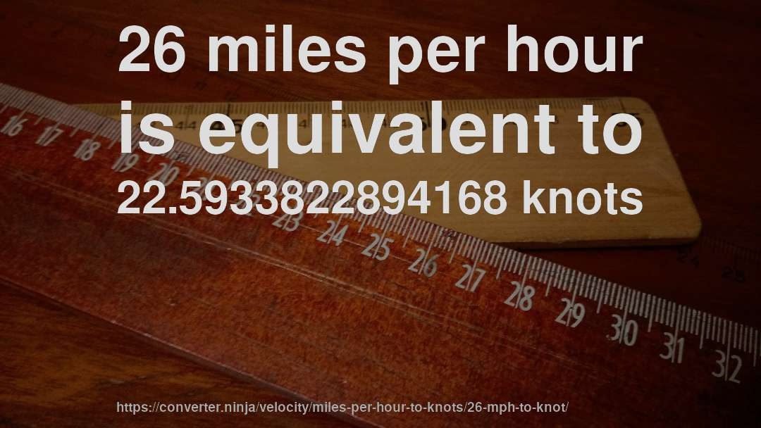 26 miles per hour is equivalent to 22.5933822894168 knots
