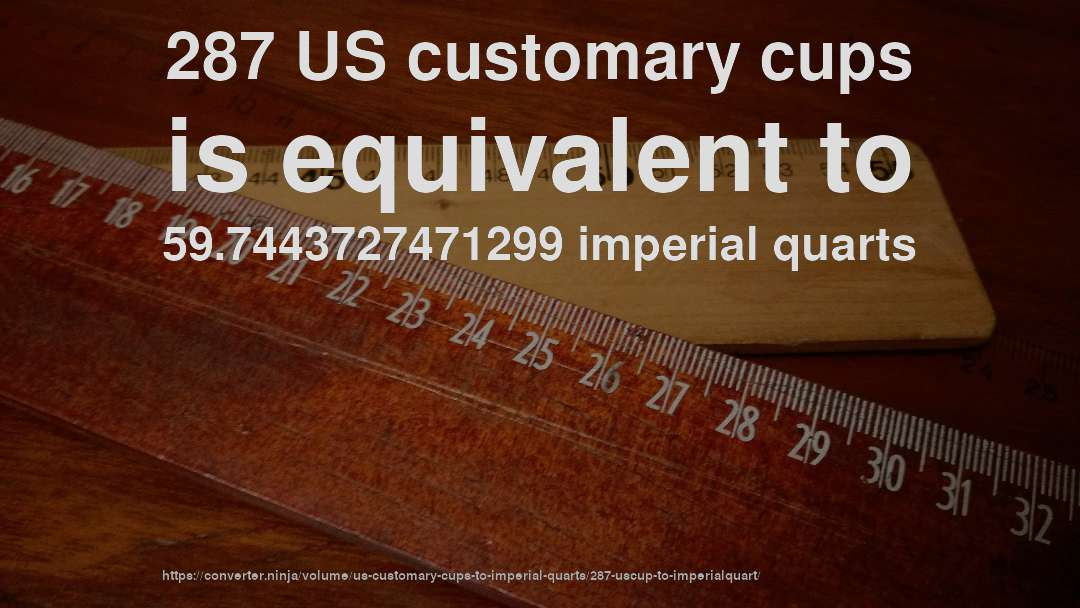 287 US customary cups is equivalent to 59.7443727471299 imperial quarts
