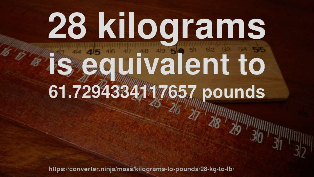 28 Kilograms Is Equivalent To 61 7294334117657 Pounds