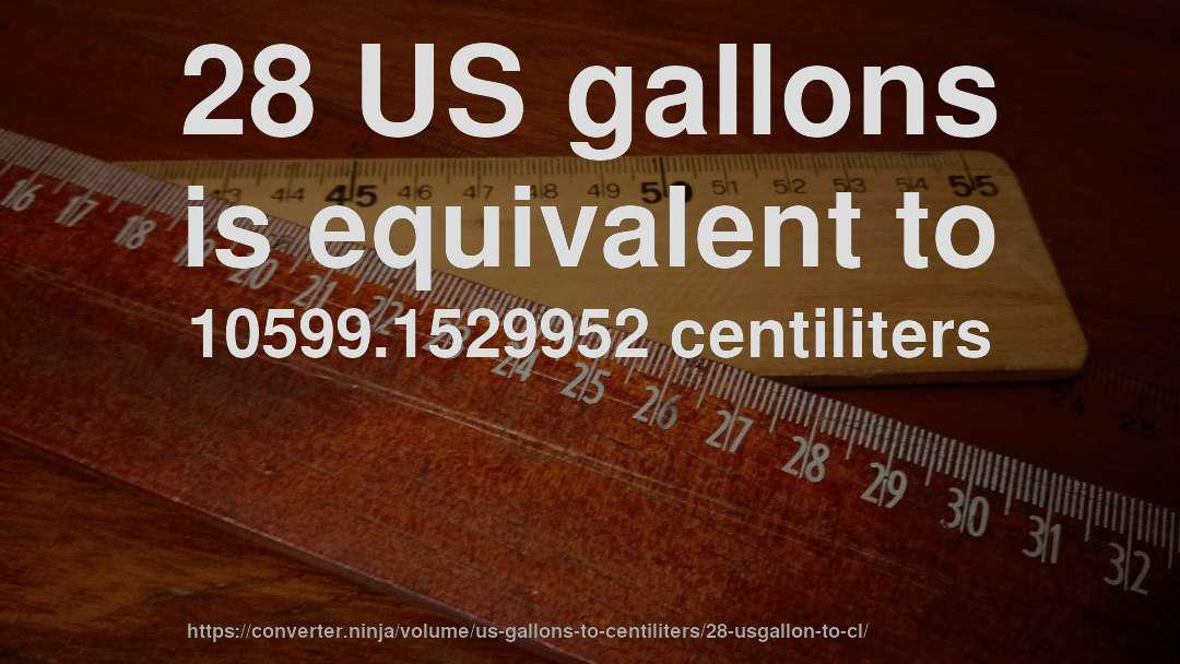 28 US gallons is equivalent to 10599.1529952 centiliters
