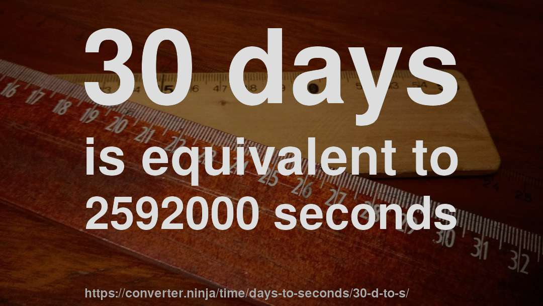 30 days is equivalent to 2592000 seconds