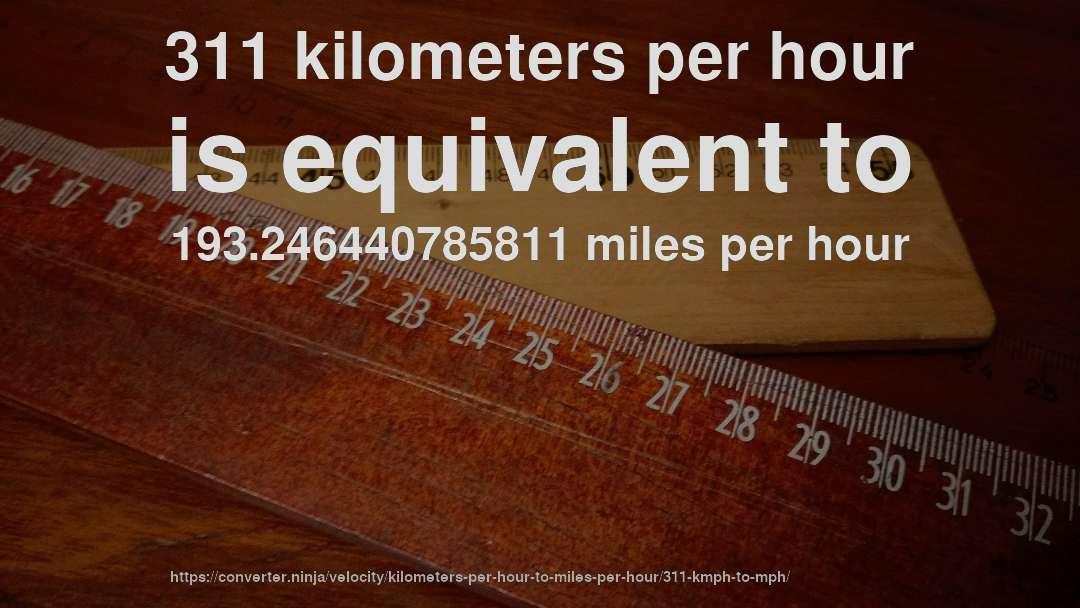 311 Kilometers Per Hour Is Equivalent To 193 246440785811 Miles