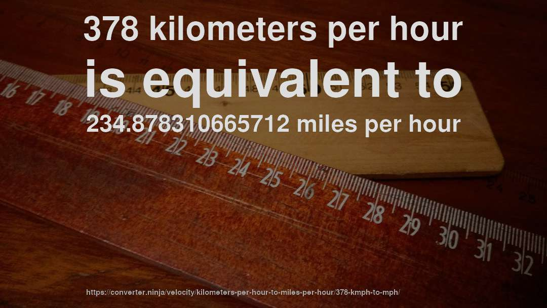 Kilometers To Mph >> 378 Km Hr To Mph How Fast Is 378 Kilometers Per Hour In