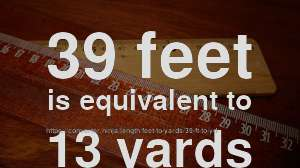 39 ft to yd - How long is 39 feet in yards? [CONVERT] ✓