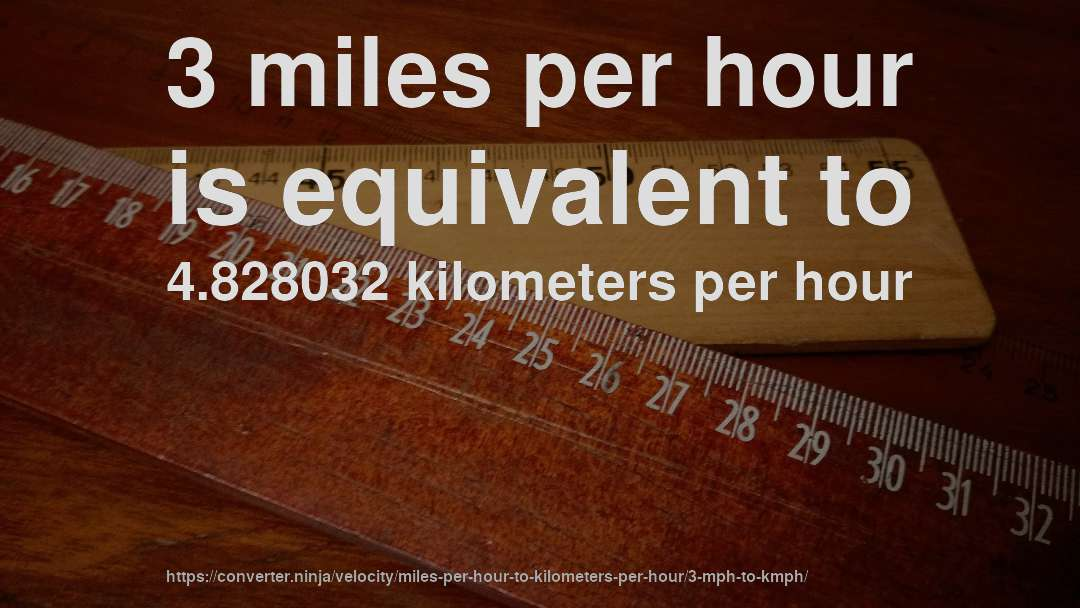 3 mph to km/hr - How fast is 3 miles per hour in kilometers per ...