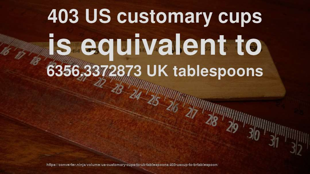 403 US customary cups is equivalent to 6356.3372873 UK tablespoons