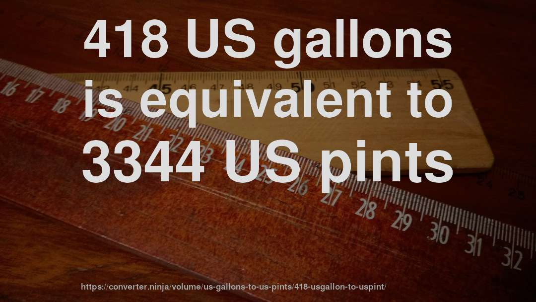 418 US gallons is equivalent to 3344 US pints