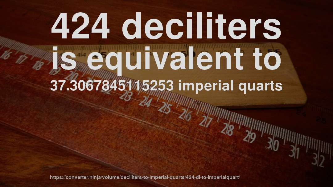 424 deciliters is equivalent to 37.3067845115253 imperial quarts