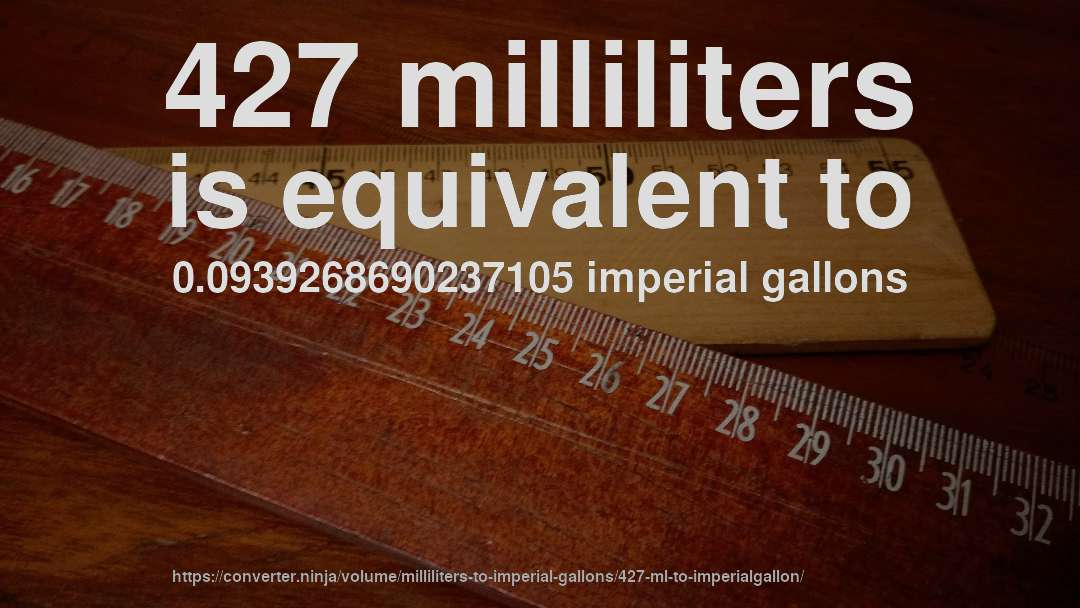 427 milliliters is equivalent to 0.0939268690237105 imperial gallons