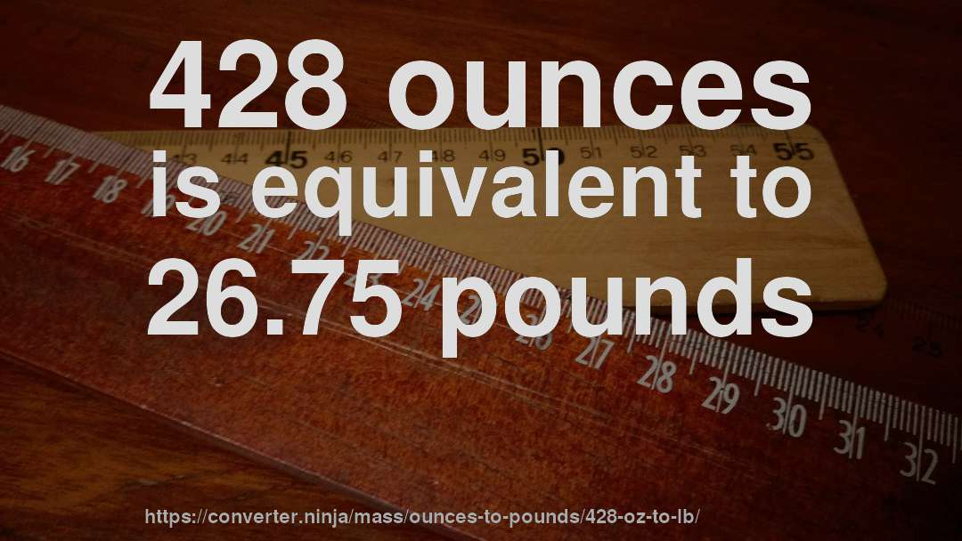 428 ounces is equivalent to 26.75 pounds