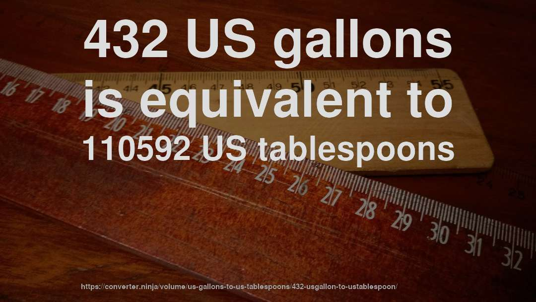 432 US gallons is equivalent to 110592 US tablespoons
