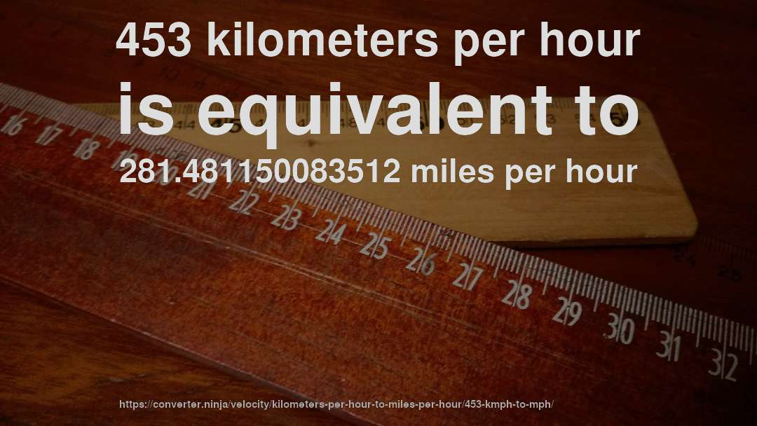 453 Kmhr To Mph How Fast Is 453 Kilometers Per Hour In Miles Per