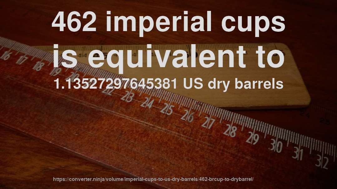462 imperial cups is equivalent to 1.13527297645381 US dry barrels