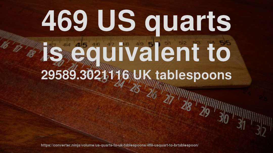 469 US quarts is equivalent to 29589.3021116 UK tablespoons