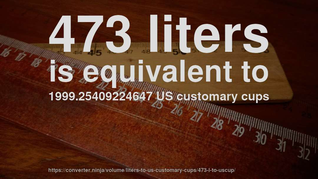 473 liters is equivalent to 1999.25409224647 US customary cups