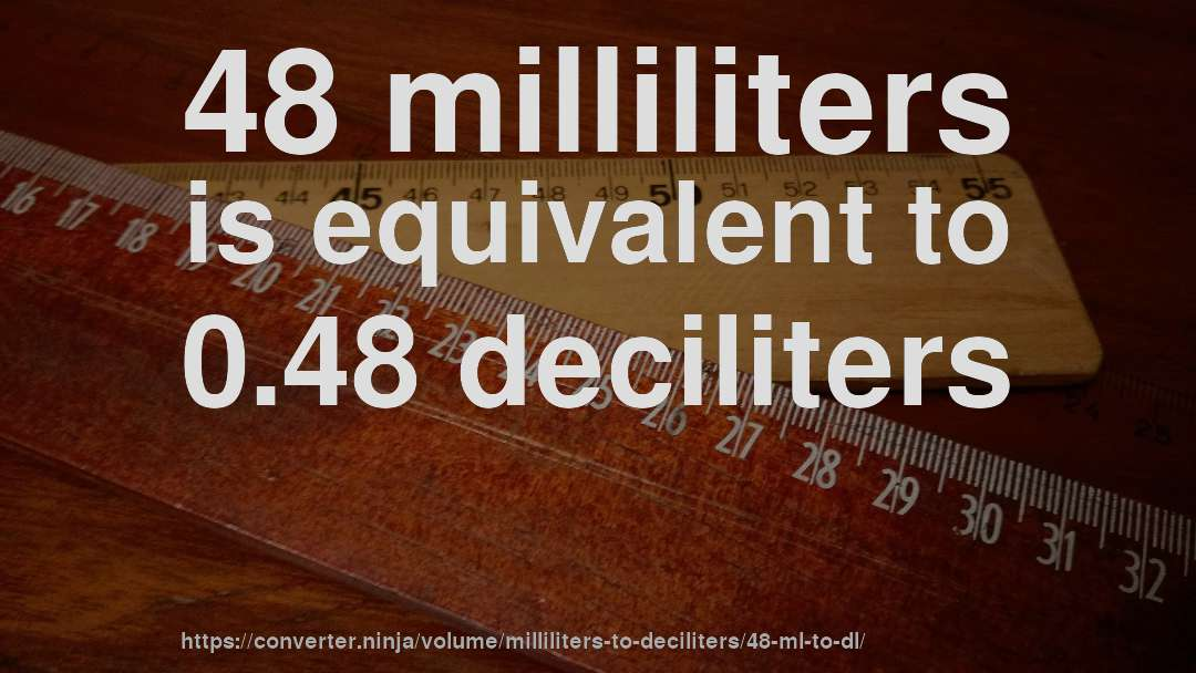 48 milliliters is equivalent to 0.48 deciliters