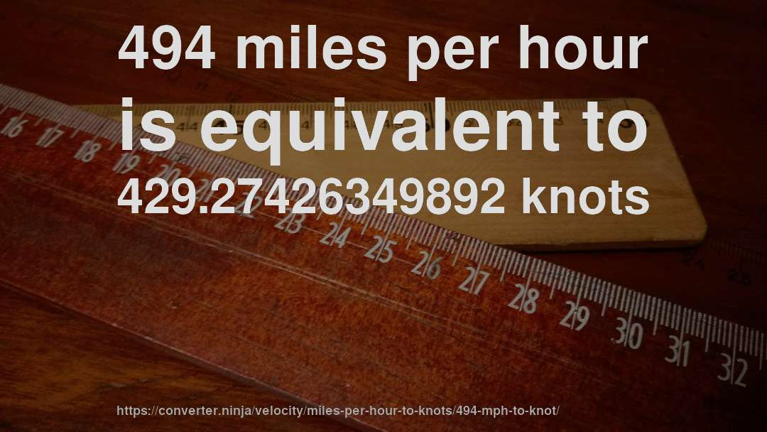 494 miles per hour is equivalent to 429.27426349892 knots