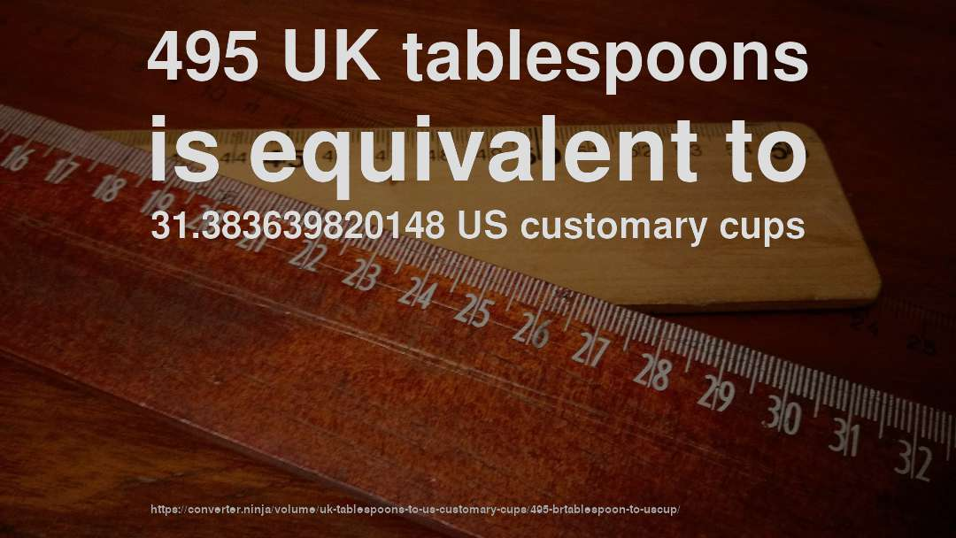 495 UK tablespoons is equivalent to 31.383639820148 US customary cups