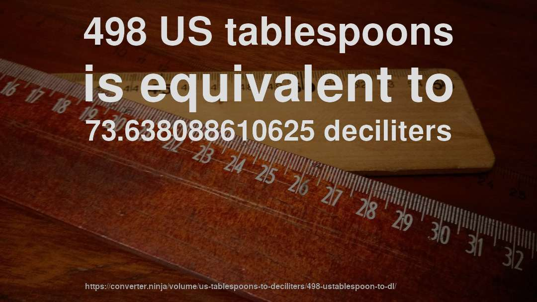 498 US tablespoons is equivalent to 73.638088610625 deciliters