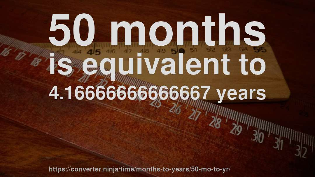 50 Months Is Equivalent To 4 16666666666667 Years