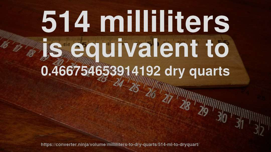 514 milliliters is equivalent to 0.466754653914192 dry quarts