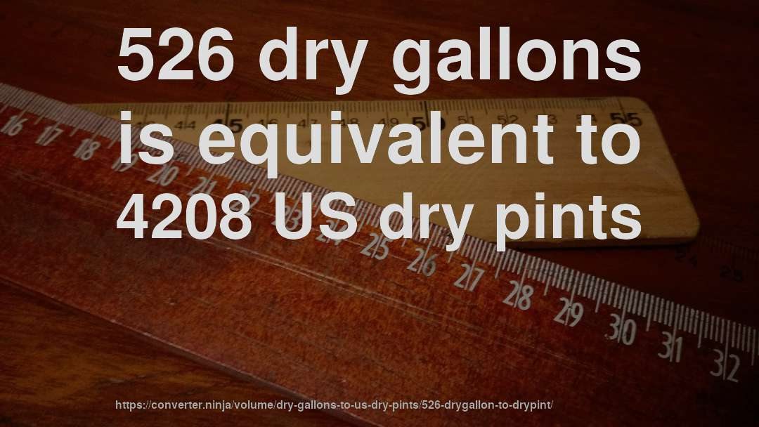 526 dry gallons is equivalent to 4208 US dry pints