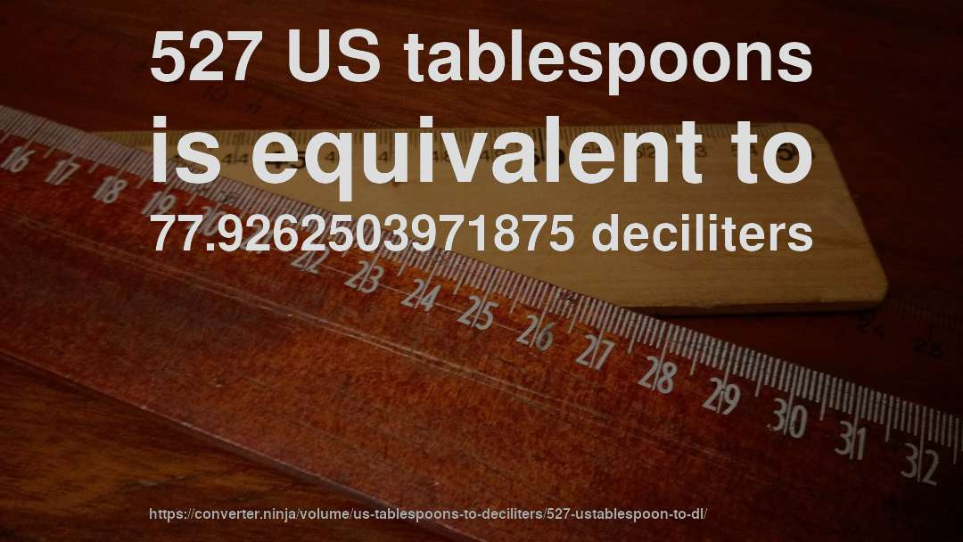 527 US tablespoons is equivalent to 77.9262503971875 deciliters