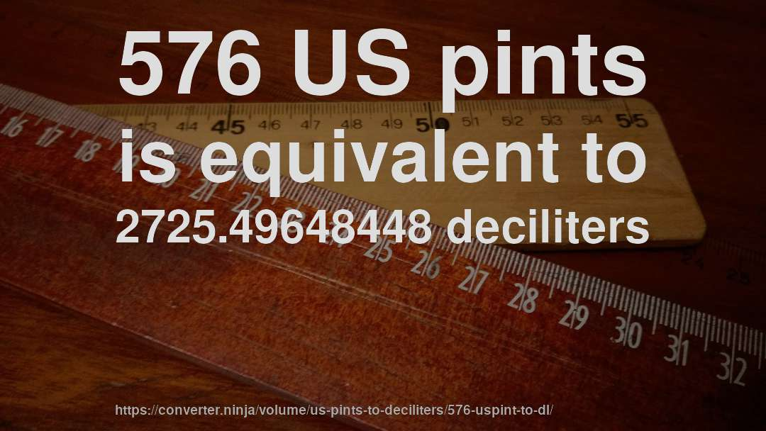 576 US pints is equivalent to 2725.49648448 deciliters