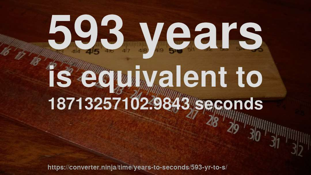593 years is equivalent to 18713257102.9843 seconds