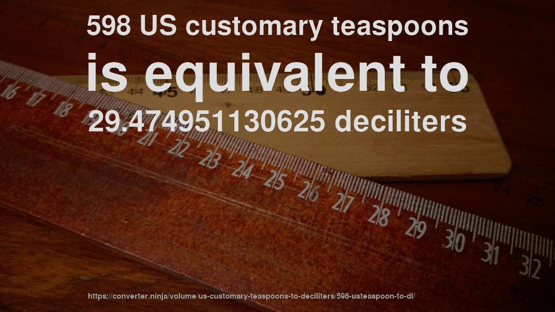 598 US customary teaspoons is equivalent to 29.474951130625 deciliters