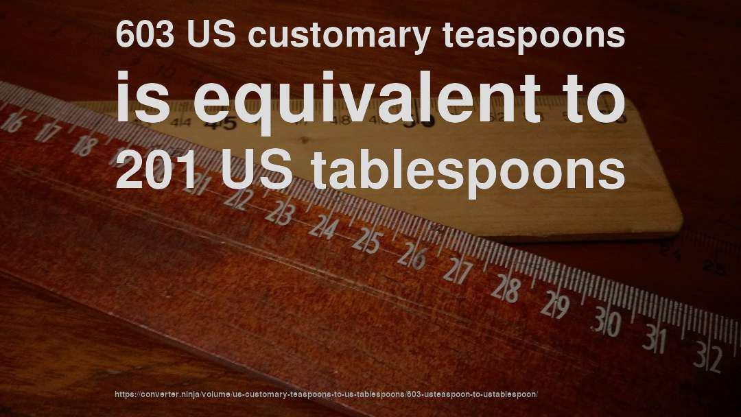 603 US customary teaspoons is equivalent to 201 US tablespoons